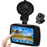 """Dual Dash Cam, 4.0"""" Touch Screen Z-EDGE Ultra HD 1440P Front, and 1080P Rear, 155 Degree Wide Angle, Dual Lens Car Camera, Fr"""