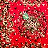 Cantik Manis インドネシア バティック ジャワ更紗(プリント) 紋章柄と花と植物のモチーフ (パターン1) ブラック × レッド [並行輸入品]
