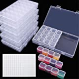 SGHUO 6 Pack 28 Grids Diamond Painting Boxes Plastic Organizer Case Diamond Embroidery Storage Boxes with 400 pcs Label Stick