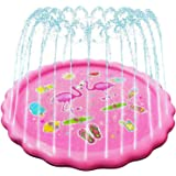Snailbrother 2021 Upgraded 170cm Inflatable Flamingo Splash Pad Water Pool Sprinkler Mat Toy for Kids Water Play