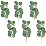 6PCS DIY Garland Flower Arrangement Decoration, Green Silk Plastic Plant, Artificial Green Leaves Holiday Green Party Family