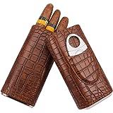 AMANCY 3 Holder Elegant Vintage Crocodile Pattern Leather Cigar Case with Cedar Wood Lined