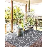 Santex TT002 Reversible Outdoor/Indoor Plastic Rug,Easy to Clean,Perfect for Garden, Patio, Picnic, Decking(Grey,6x9)