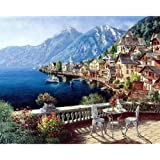 DIY Painting by Numbers for Beginner & Kids Seaside Town Landscape Oil Paint by Number Kit For Adults Frameless DIY Art Work