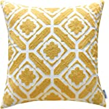 (Yellow Floral(one Piece)) - SLOW COW Cotton Embroidered Cushion Cover Floral Pattern Designs Throw Pillow Cover, 46cm x 46cm