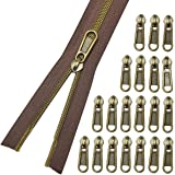 (Antique Brass-brown) - Nylon Coil Zippers 5- Long Zippers by The Yard Antique Brass Metallic Teeth- Sewing Zipper Bluk Brown