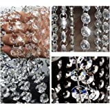 Crystal Beads for Chandelier Glass Garland Bead Chain Wedding Crystal Chandelier Prism Lamp Octagon Beaded Chain Decoration C