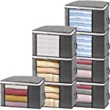 Isbasa 8 Pack Large Foldable Clothes Organizer Clothing Storage Bags with Clear Window Sturdy Zipper and Reinforced Handle Th