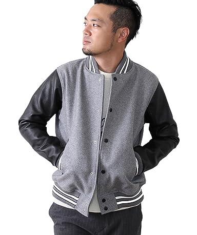 Melton Leather Award Jacket 7560-640-5037: Grey