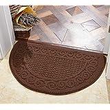 Half Round Doormat Non Slip Durable Welcome Door Mats Boots Scraper Mats Indoor Outdoor Rug Doormat Easy Clean Floor Rug, Cof