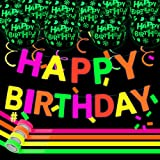Neon Birthday Party Decorations Glow in the Dark Happy Birthday Banner Lets Glow Party Supplies Fluorescent Balloons Tape