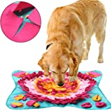 BLEVET Dog Feeding Mat Puzzle Toys Snuffle Cushion Training Feeding Stress Release Pad Foraging Skill XA002 (70x70 cm, Blue)