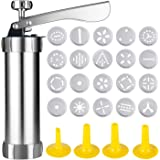 Ezonedeal Cookie Press Aluminum Biscuit Press Cookie Gun Set with 20 Discs and 4 Icing Tips for DIY Biscuit Maker Cupcake and