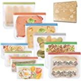 Kitchwise Reusable Sandwich Bags Resealable Food Storage Bag(Snack&Lunch Sized) Leakproof Kids Snacks Bags Extra Thick