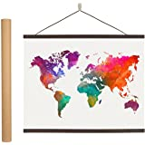 Magnetic Poster Hanger Frame - 24 inches Wooden Magnetic Poster Frame Hanger for Scratch Off Maps, Prints, Pictures, Photos,