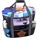 Mesh Beach Bags and Totes, AOMAIS MAX Capacity 30L/150lbs Durable Toy Tote Bag with Removable Strap& 8 Extra Pockets& Inside