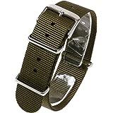 NATMK 時計ベルト NATO ショートサイズ 全長255mm ナイロンストラップ 取付マニュアル付 (14mm, カ…