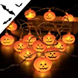 PITHECUS ハロウィン 飾り LEDライト パンプキン 装飾 ストリングライト 電飾 かぼちゃ 電池式 30球全長4.5m コウモリ飾り付き