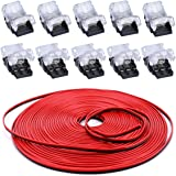 BZONE 10 Pack 2 Pin LED Strip Connectors with 16.4FT Extension Cable for 10 mm Wide Waterproof Single-Color LED Strip Lights,