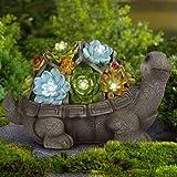 GIGALUMI Turtle Garden Figurines Outdoor Decor, Garden Art Outdoor for Fall Winter Christmas Decor,Outdoor Solar Statue with