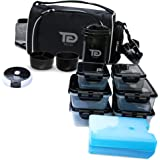 Meal Prep Bag by TO GO Double Insulated Lunch Meal Bag W/6 Portion Control Containers, 2 Large Ice Packs, Protein Shaker, Pil