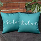 KRINGSIA Pack of 2, Relax Outdooor Waterproof Throw Pillow Covers, Square Decorative Garden Cushion Case with Quotes & Saying