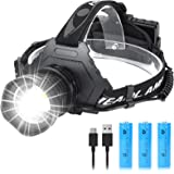 LED Headlamp USB Rechargeable Head Lamp XHP70.2, Super Bright 90000 High Lumen with 5 Modes, Batteries Included, Zoomable, Wa