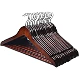 HOUSE DAY Premium Wooden Hangers for Coats Wooden Clothes Hangers 20 Pack Wooden Hangers Bulk Wooden Coat Hanger Brown Premiu