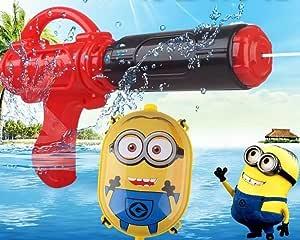 (Glory Factory) ミニオン リュック型 水鉄砲 大容量 タンク型 バックパック ウォーターガン スプラッシュ キャラクター 水遊び おもちゃ 夏 子供 (ミニオン)