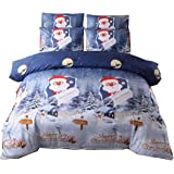 SISHER Duvet Cover Set Blue Christmas Winter Wonderland Printing Duvet, Easy Care Quilt Duvet Cover Bedding Set, Double,200 *