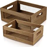 Set of 2 Nesting Countertop Baskets - Wooden Organizer Crates for Kitchen Bathroom Pantry   For Fruit Vegetables Produce Brea