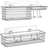 SMARTAKE 2-Pack Shower Caddy Basket for Shampoo, Combined Bath Organizer Set with Soap Holder and Hooks, SUS304 Stainless Ste