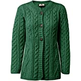 Carraig Donn Ladies 100% Merino Wool A Line Cardigan Kiwi Green
