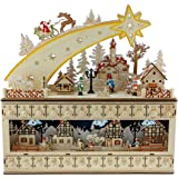 Clever Creations Shooting Star Snowy Village 24 Day Advent Calendar Premium Christmas Décor   Painted Characters   100% Wood