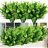 (Artificial Boxwood) - TEMCHY Artificial Plants Faux Boxwood Shrubs 6 Pack, Lifelike Fake Greenery Foliage with 42 Stems for
