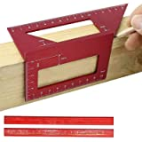 Aluminum Alloy Saddle Layout Square Gauge with 2 Pencils,Multifunctional 45/90 Degree Angle T Ruler 3D Mitre Angle Woodworkin