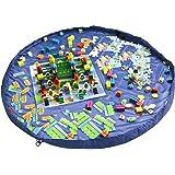 おもちゃ収納バッグ 子ども プレイマット 積み木 お片付け簡単 特大マット 直径150cm 折り畳みで便利 収納用品 自宅&外遊び (ブルー)