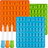 [New] Bear Candy Silicone Molds Ice Cube Trays with 3 Droppers, SENHAI 3 Pack Gumdrop Molds for Jelly Chocolate Soap Cake Wax