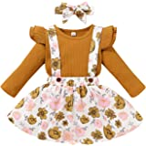 Toddler Infant Baby Girls Fall Dress Outfits Ruffle Button Long Sleeve Floral Print Princess Tutu Skirt Clothes Sets