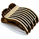 Mia Super Clamp, Strong Jaw Clamp, Updo French Twist Hair Clip Barrette, Comfortable Contoured Fit, Hidden Spring, Medium Siz