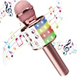 H HOME-MART Wireless 4 in 1 Bluetooth Karaoke Microphone with LED Lights, Portable Microphone for Kids, Best Gifts Toys for 4