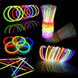 144 PCs Glow Sticks Bulk for Glowstick Party Favors, Colorful Neon Glow in The Dark Necklace & Bracelet Supplies, Birthday Ch