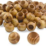 Natural Wooden Beads, 100 Pieces 20mm Diameter Round Loose Spacer Beads Large Hole (10mm) Wooden Craft Beads with Beautiful G