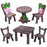 Trasfit 6 Pieces Miniature Table and Chairs Set, Fairy Garden Furniture Ornaments Kit for Dollhouse Accessories, Home Micro L