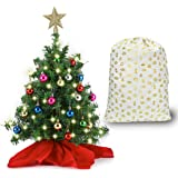 "20"" Tabletop Mini Christmas Tree Set with Clear LED Lights, Star Treetop and Ornaments, Best DIY Christmas Decorations"