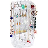 360 Rotating Earring Holder and Jewelry Organizer, Acrylic Earring Display Stand, 4 Tier Clear Jewelry Rack with 168 Holes an