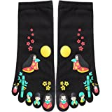 uxcell Women 2 Pack Japanese Cartoon Print Five Toe Socks