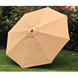 BELLRINO Replacement Umbrella Canopy for 10ft 8 Ribs Tan/Light Coffee (Canopy Only)