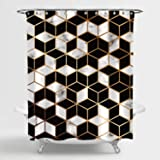 MitoVilla Golden Geometric Lines and Cubes Shower Curtain, Modern LuxuryStyle Print, Black White Marble Surface Interior Dec