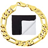 The Bling Factory Thick 9.5mm Yellow Gold Plated Beveled Figaro Link Chain Bracelet + Microfiber Jewelry Polishing Cloth